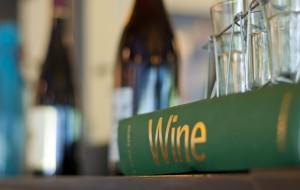 Wine Book Sitting On A Shelf In A Nice Restaurant